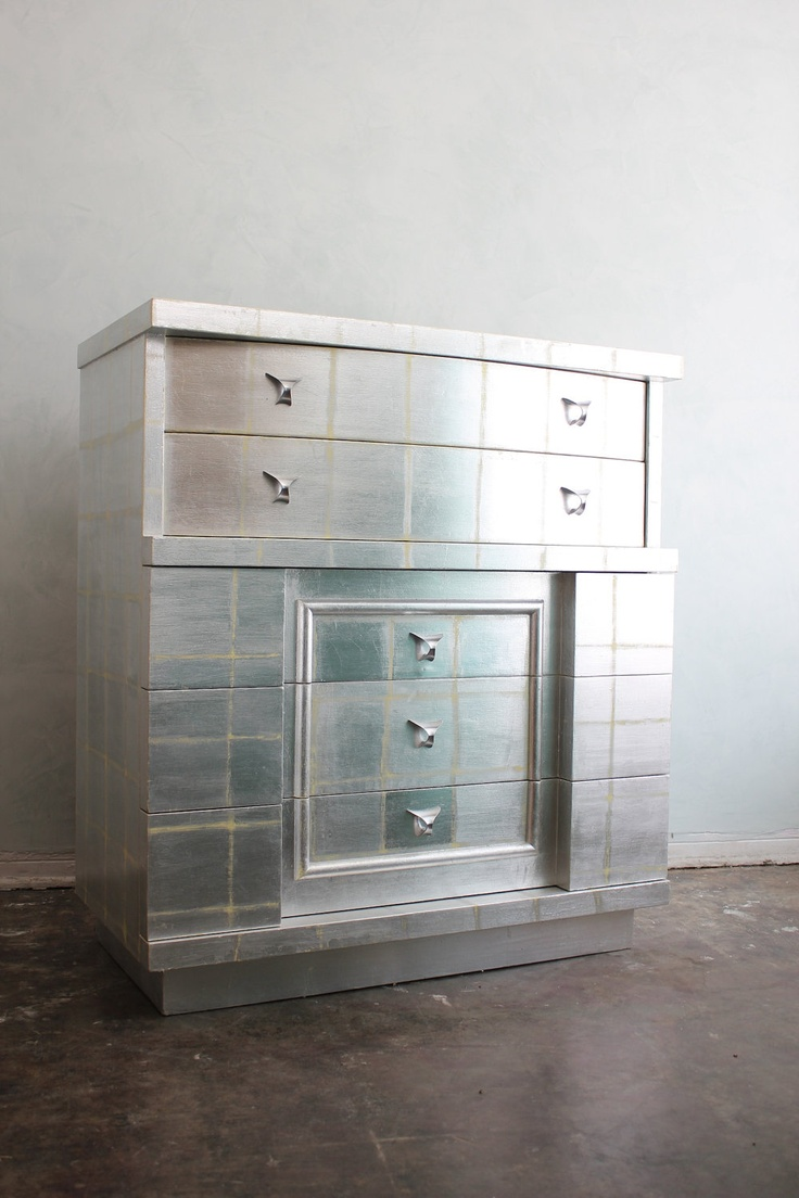 Talk about a showstopper: an original Art Deco 1930s silver leaf chest.