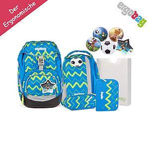 ergobag Schulrucksack pack Set Blau Grün Zickzack LiBäro