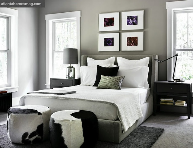 Black And White Cowhide Ottomans, Gray Wingback Bed, Gray Bedroom   Modern  Bedroom With Black Grey Pillows