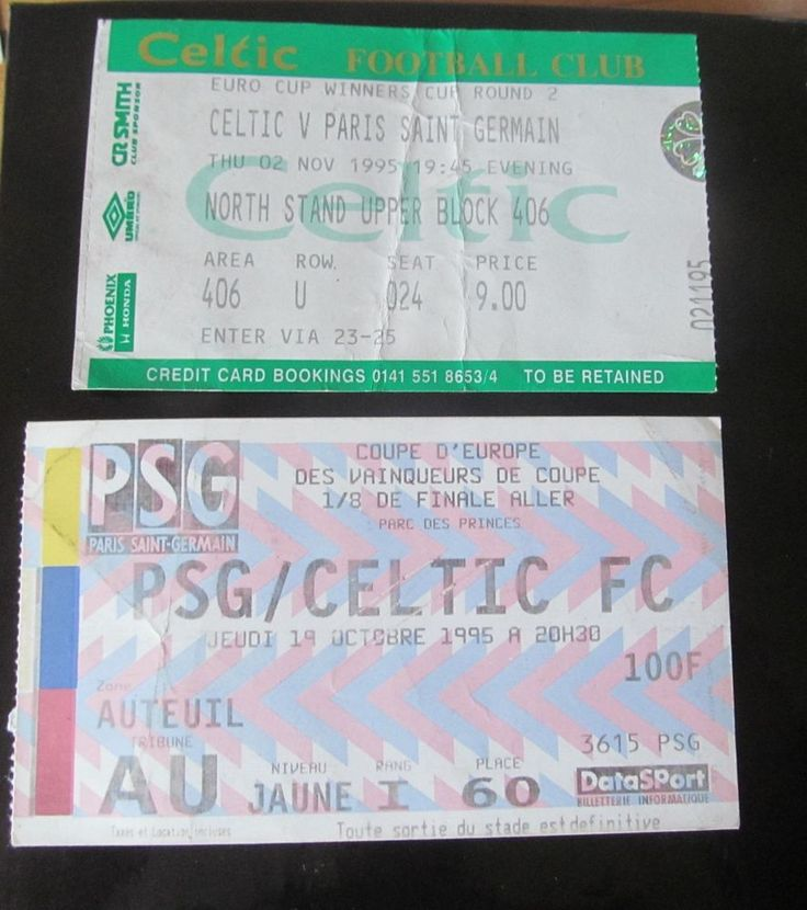 PARIS SAINT GERMAIN  V  GLASGOW CELTIC FC  EUROPE 1995 HOME AND AWAY TICKETS  | eBay