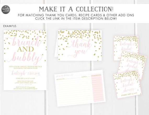 Blush Bridal Shower Invitation Glitter Bridal by TrendyPrintables