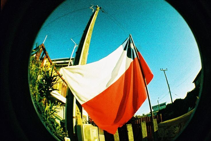 FIsheye Chilean Flag.