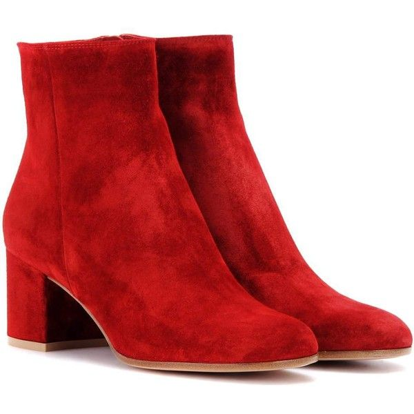 Gianvito Rossi Margaux Mid Suede Ankle Boots ($935) ❤ liked on Polyvore featuring shoes, boots, ankle booties, red, suede ankle booties, red suede bootie, red ankle booties, suede ankle boots and suede booties