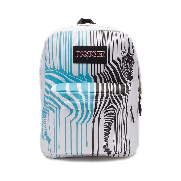 JanSport Black Label Superbreak Zebra Backpack White/Blue at ...