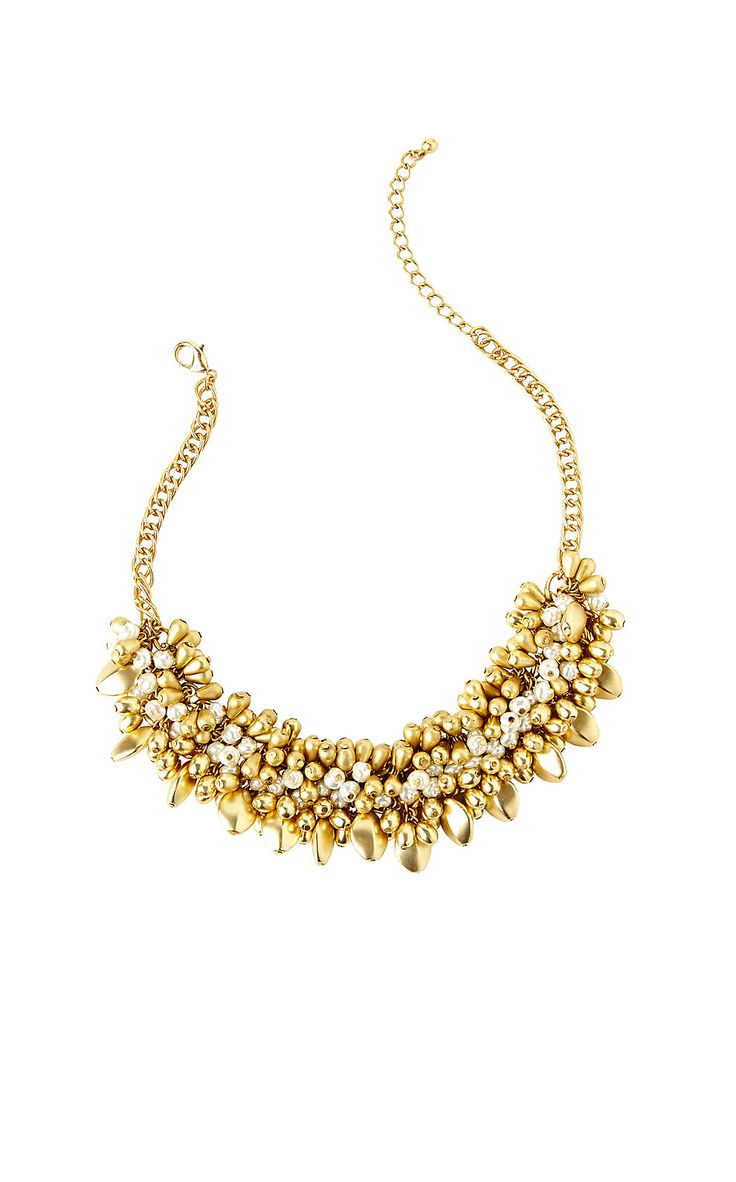 Alfresco Beaded Statement Necklace  Lilly Pulitzer Gold Metallic