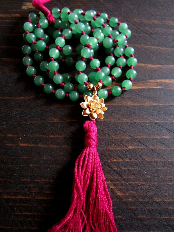Lotus mala, 108 mala beads,Hand knotted mala,aventurine mala,lotus necklace,boho long tassel necklace,yoga jewelry