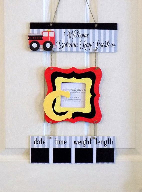 Welcome Baby Boy Fireman Red Yellow & Black by OliveYewToo on Etsy