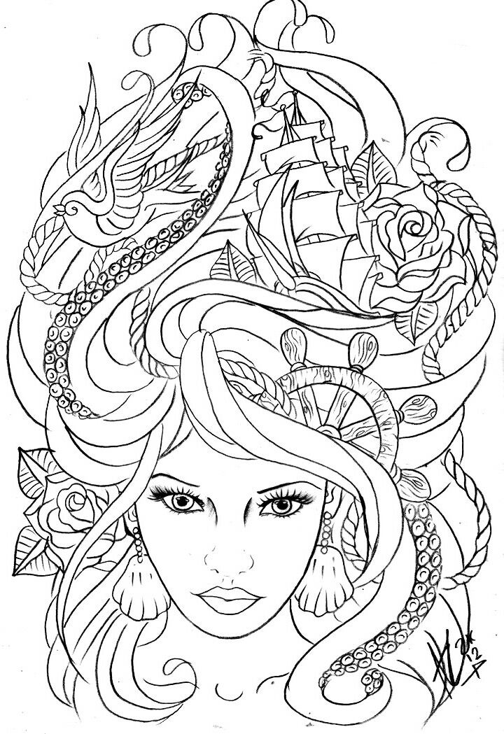 It is an image of Crush Tattoo Coloring Page