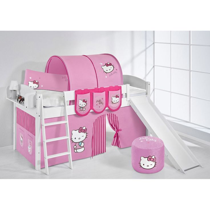 Hochbett Spielbett IDA Hello Kitty Rosa, mit Rutsche und Vorhang, weiß Jetzt bestellen unter: https://moebel.ladendirekt.de/kinderzimmer/betten/hochbetten/?uid=d4a78711-beab-5e5a-a1dc-dc6d0e82da35&utm_source=pinterest&utm_medium=pin&utm_campaign=boards #kinderzimmer #hochbetten #betten