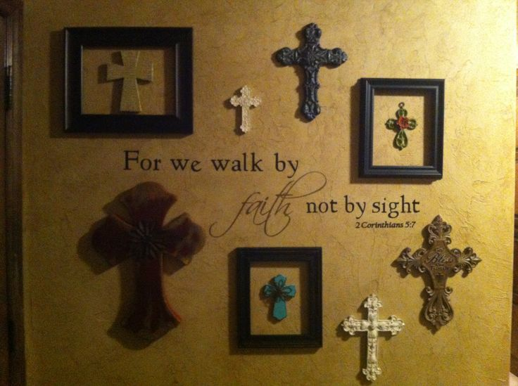 Wall of crosses... I like the idea of adding frames around some of my smaller crosses in my collection.