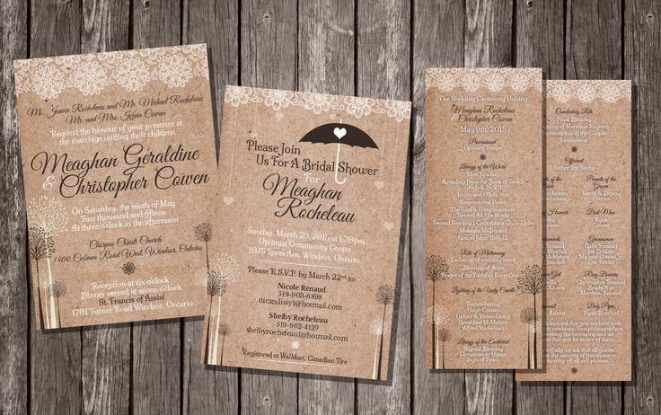 A little bit rustic | Wedding Invitations | Bridal Shower Invitation | Ceremony Program | Lace | Rustic | Avenue16