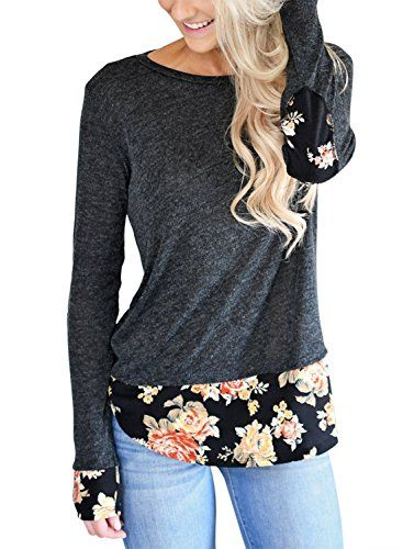 HOTAPEI Womens Floral Printed Tops Long Sleeve Casual Crewneck Loose  Blouses T Shirt #tops #