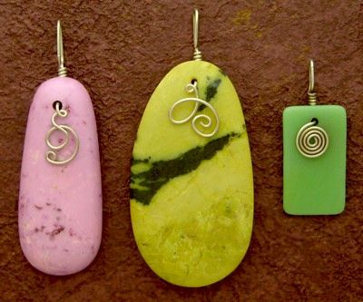 Tutorial for making a pendant with a wire bail from Rena Klingenberg.  Good for polymer clay. #Wire #Jewelry #Tutorial