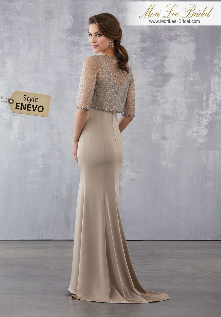 Style ENEVO  Crepe Social Occasion Dress with Intricately Beaded Net Jacket  Beaded Net Jacket Over Silky Crepe Gown. Colors Available: Bronze