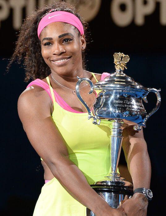 Serena Williams with her Australian Open 2015 trophy...