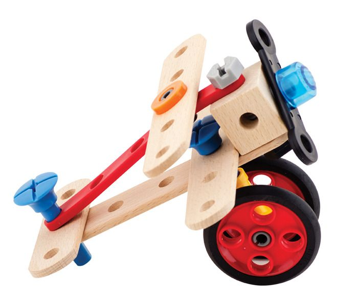 Build, create and build again! Features 135 pieces, including a hammer, screwdriver, pliers and wrench! A fun way to practice hand/eye coordination.
