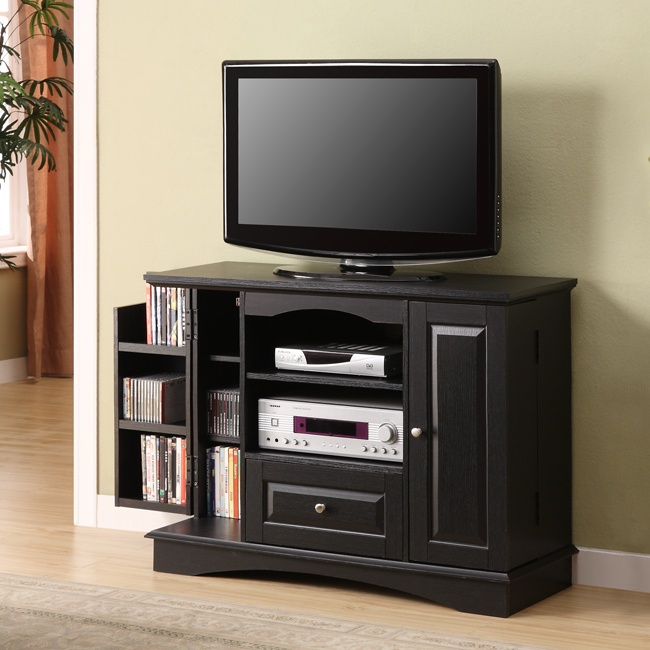 Good Black Tall TV Stand With Side Storage
