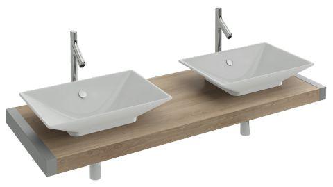 Table sur-mesure de 140 à 150 cm avec découpes pour vasques Rêve E4819 | Jacob…