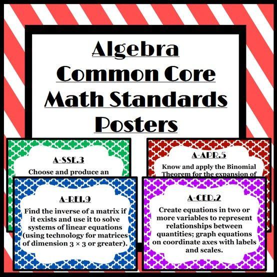 Printable Algebra Common Core Standards Posters