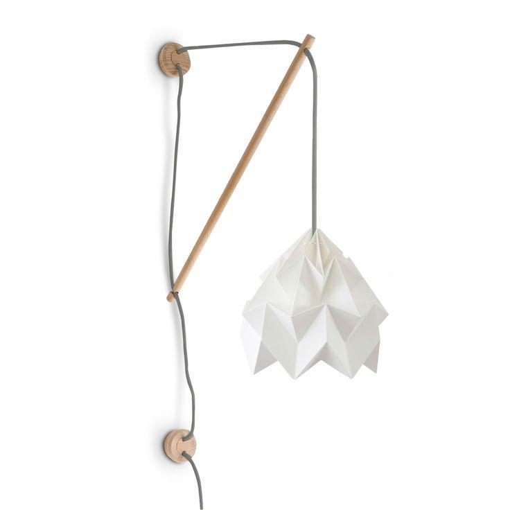 Applique bois fil gris papier blanc 20cm moth - Applique origami ...