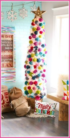 how to make your own colorful  Pom Pom Tree – Dream Tree Challenge - - Sugar Bee Crafts
