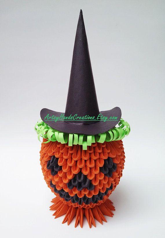 3d Origami Halloween 3d Origami Jack O by ArtsyHandsCreations