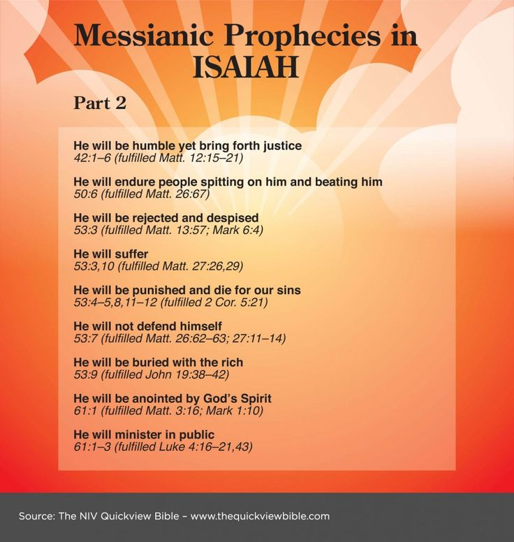 Prophecies of the Messiah in Isaiah chapters 42 - 61. See what the Messiah has done for us here: www.BibleVersesAbout.org/jesus-work-of-christ/