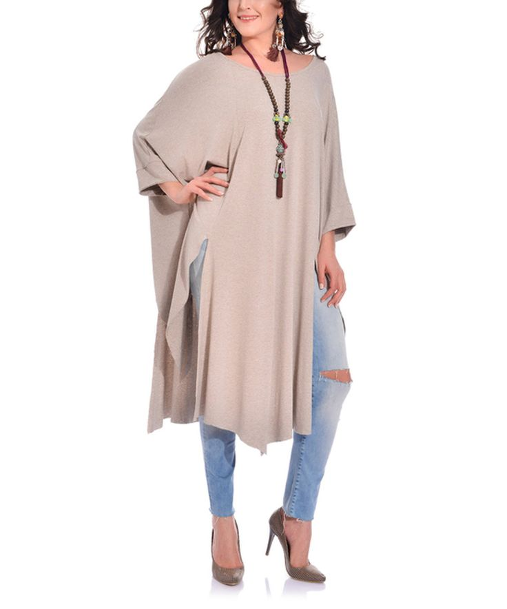 Love this Valeria Fratta Beige Stone Split-Hem Cape-Sleeve Tunic - Plus by Valeria Fratta on #zulily! #zulilyfinds