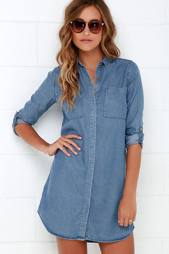 Shirt and Sweet Blue Chambray Shirt Dress at Lulus.com!