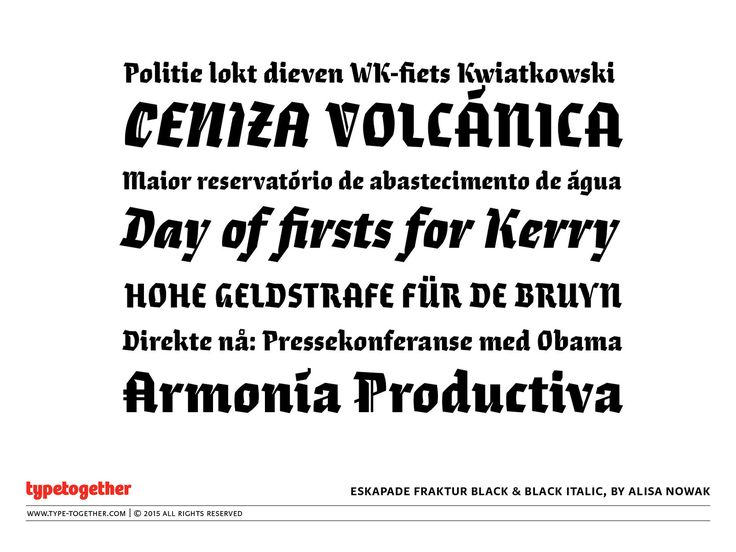 Coming soon: Eskapade Fraktur Black & Black Italic | by TypeTogether