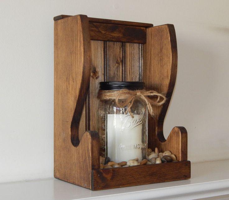 Mason Jar Wall Sconce Candle Holder Display Shelf Wall
