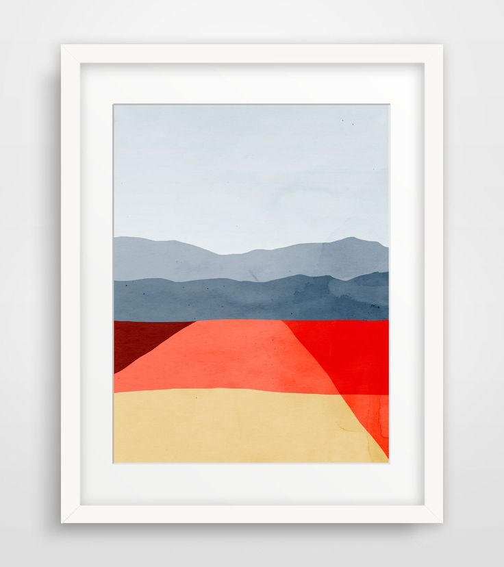 Mid Century Modern Art Print, Abstract Wall Art, Minimalist Poster, Office Decor, Abstract Landscape, Living Room Decor, Red Wall Art by evesand on Etsy https://www.etsy.com/uk/listing/110674534/mid-century-modern-art-print-abstract