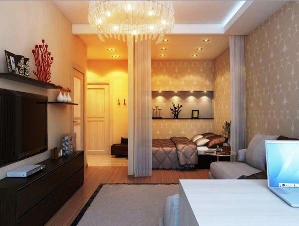 Однокомнатная квартира зал дизайн