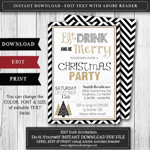 34 best holiday party invitations images on pinterest cob loaf eat drink be merry christmas party invitation size 57 instant party invitation templatesdiy solutioingenieria Gallery