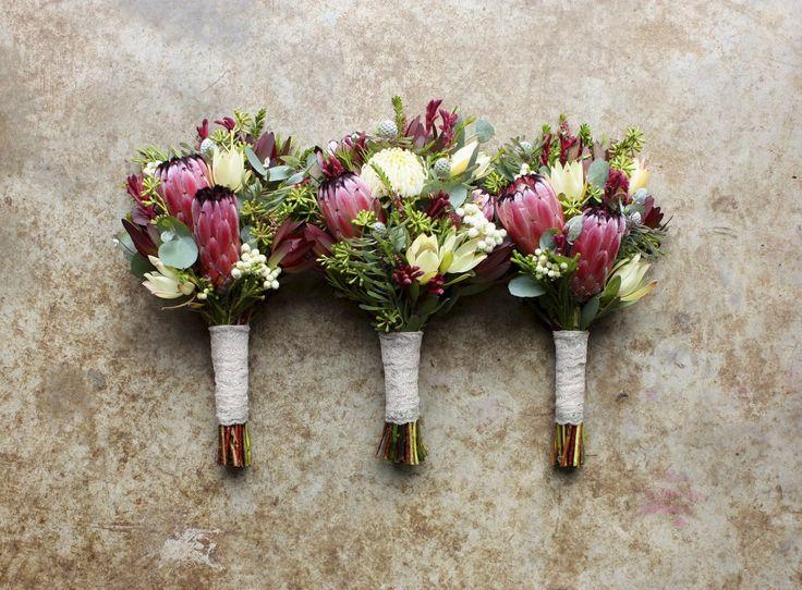 native spring bouquets with proteas, waratah, kangaroo paw, leucadendrons and eucalyptus buds