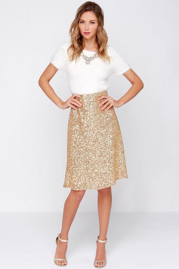 cef5508e132d Yours and Mine Bridal  Gold Sequins A-line Skirt
