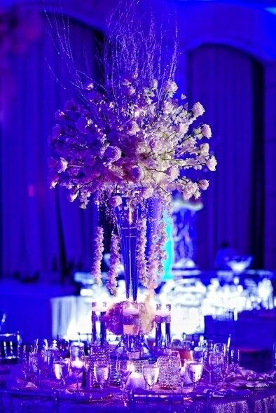 Beautiful blue! #Uplighting #wedding