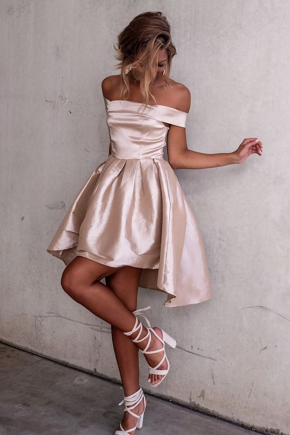 Sexy Off the shoulder Light Champagne Mini Dress for Luulla.com  A much more classic style that will never go out of style. This rose gold dress is absolutely charming.