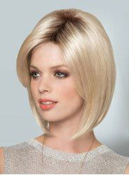 Stylish Middle Part Heat Resistant Fiber Short Straight Black Mixed Blonde Capless Wig For Women
