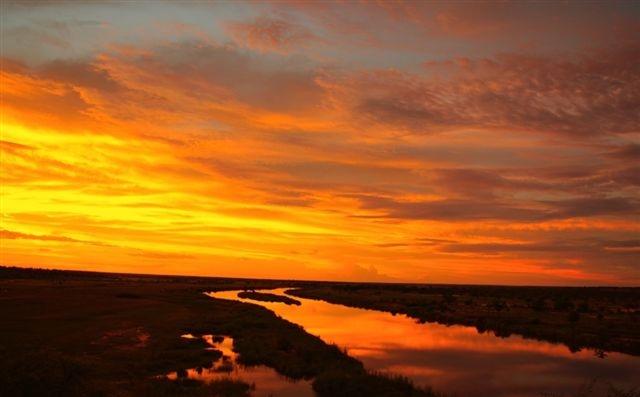sunset at Rundu in Namibia