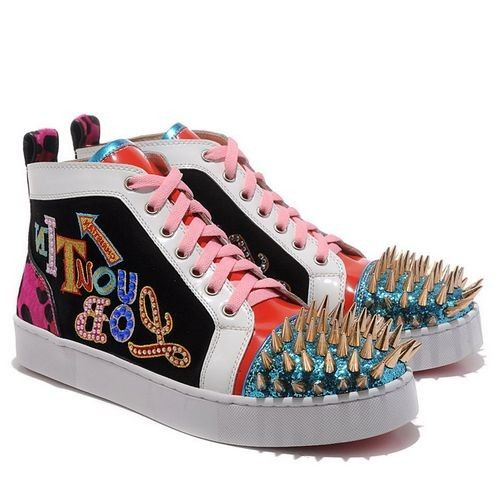 Christian Louboutin Louis Gold Spikes High Top Sneakers