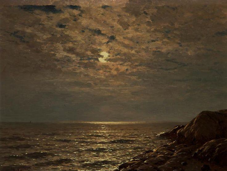 Eugen Taube (1860-1930), Paysage Maritime au Clair-de-Lune. Живопись