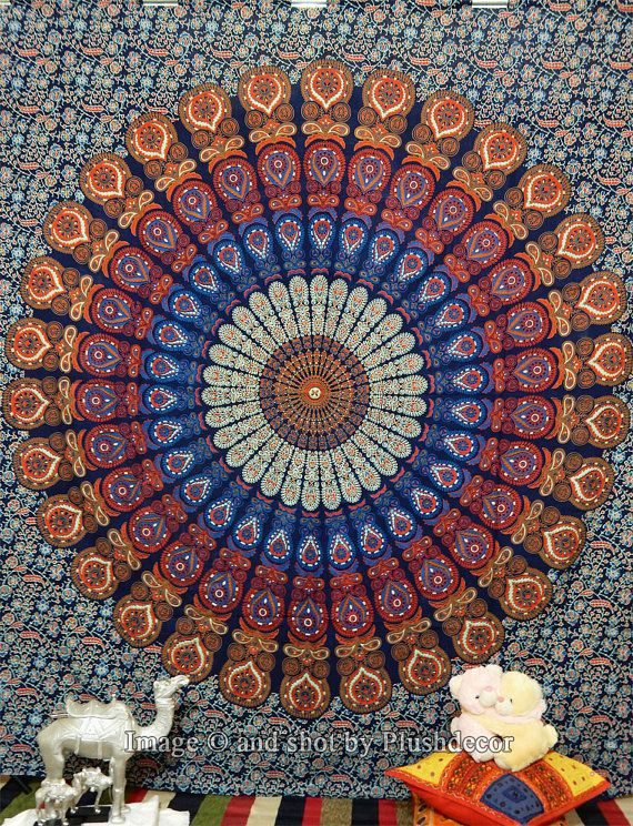 Indian Mandala tapestry Hippy Psychedelic tapestries by plushdecor