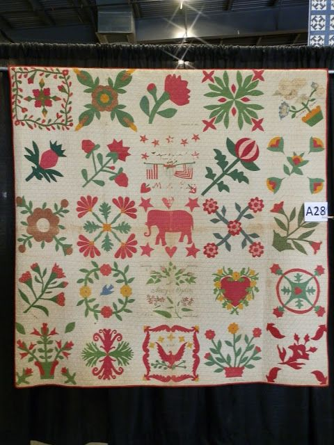 """Elephant Friendship Album, circa 1857. """"Mary Palmer Ogden was the recipient and probably the maker of this friendship album. The elephant may seem to be unusual, but Mary lived only a few miles from where the first elephants brought to the United States lived. During the time the quilt was made, Mary married and moved from Yorktown to Ossining, NY."""""""