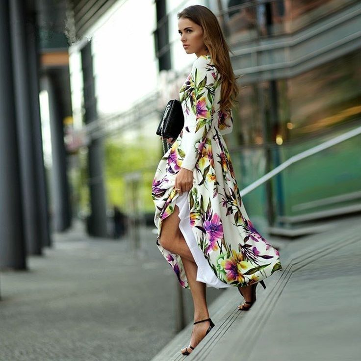 Tropical Floral Print long-sleeve Dress