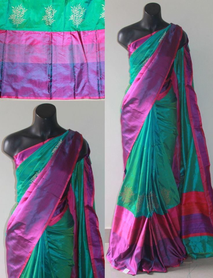 Rama Green with Pink/Violet Shaded Banaras Soft Silk Saree