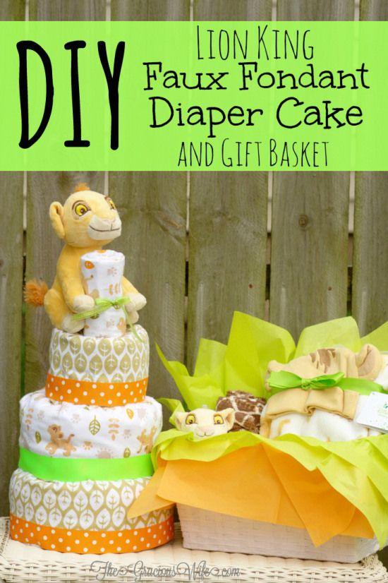 DIY Lion King Faux Fondant Diaper Cake