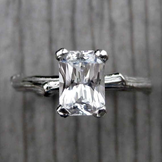 Emerald Cut White Sapphire Twig Engagement Ring: 1ct Radiant Cut; READY TO SHIP