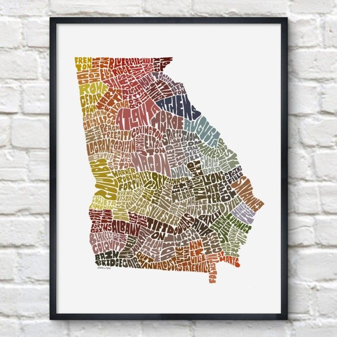 We love this Georgia Typography Map Print!