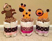 UNE fille Jungle Safari couches Mini gâteaux pour bébé douche pièce maîtresse ou nouveau bébé cadeau